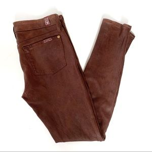 7 For All Mankind Faux Suede Skinny Jeans Size 25
